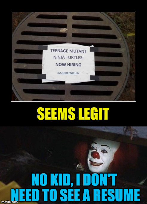 Just trying to get you into the sewer. | SEEMS LEGIT NO KID, I DON'T NEED TO SEE A RESUME | image tagged in memes,pennywise in sewer,teenage mutant ninja turtles,funny,tricking,humor | made w/ Imgflip meme maker