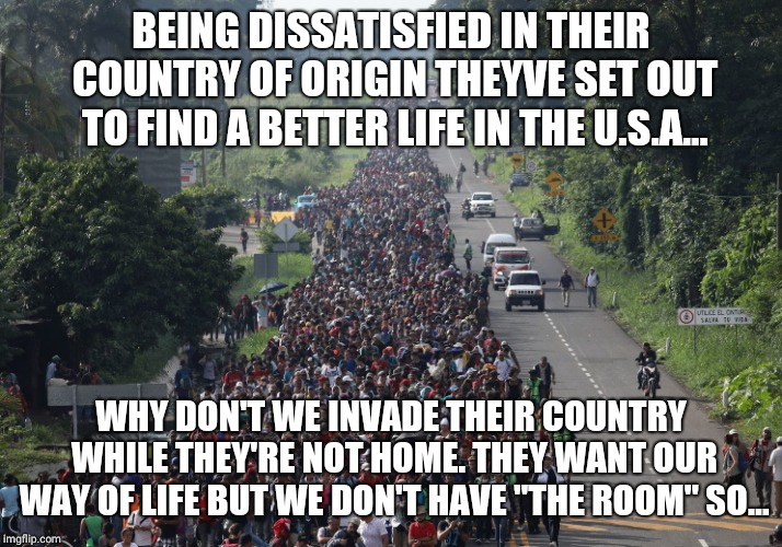 "Migrant Caravan |  BEING DISSATISFIED IN THEIR COUNTRY OF ORIGIN THEYVE SET OUT TO FIND A BETTER LIFE IN THE U.S.A... WHY DON'T WE INVADE THEIR COUNTRY WHILE THEY'RE NOT HOME. THEY WANT OUR WAY OF LIFE BUT WE DON'T HAVE ""THE ROOM"" SO... 