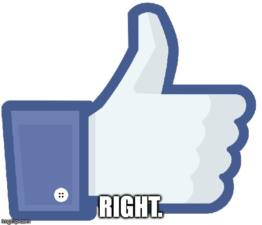 Facebook Like Button | RIGHT. | image tagged in facebook like button | made w/ Imgflip meme maker