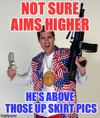 NOT SURE AIMS HIGHER HE'S ABOVE THOSE UP SKIRT PICS | made w/ Imgflip meme maker
