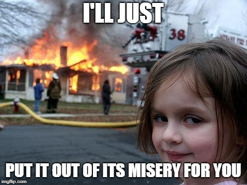 Disaster Girl Meme | I'LL JUST PUT IT OUT OF ITS MISERY FOR YOU | image tagged in memes,disaster girl | made w/ Imgflip meme maker