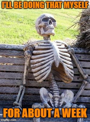 Waiting Skeleton Meme | I'LL BE DOING THAT MYSELF FOR ABOUT A WEEK | image tagged in memes,waiting skeleton | made w/ Imgflip meme maker