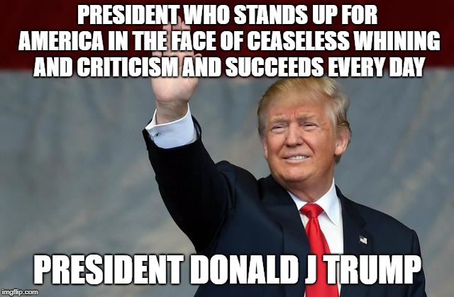 Donald J Trump succeeds | PRESIDENT WHO STANDS UP FOR AMERICA IN THE FACE OF CEASELESS WHINING AND CRITICISM AND SUCCEEDS EVERY DAY PRESIDENT DONALD J TRUMP | image tagged in president,president trump,winner,patriot | made w/ Imgflip meme maker