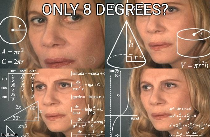 Math Lady | ONLY 8 DEGREES? | image tagged in math lady | made w/ Imgflip meme maker