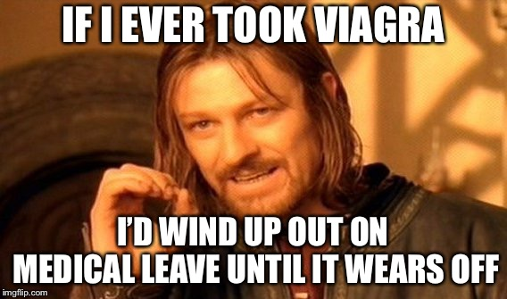 One Does Not Simply Meme | IF I EVER TOOK VIAGRA I'D WIND UP OUT ON MEDICAL LEAVE UNTIL IT WEARS OFF | image tagged in memes,one does not simply | made w/ Imgflip meme maker