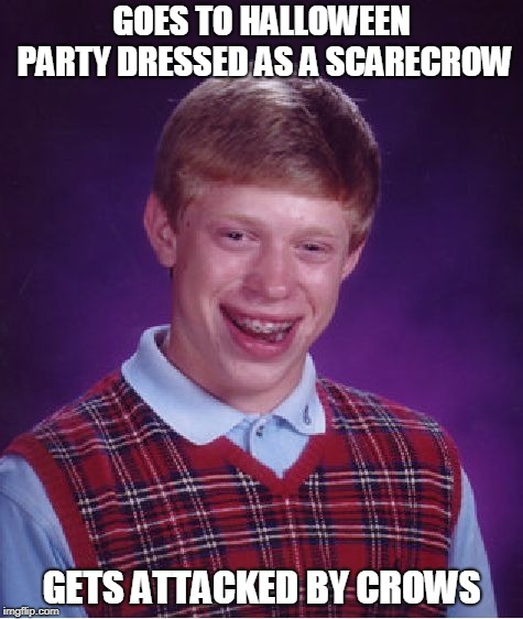 Bad Luck Brian scarecrow | GOES TO HALLOWEEN PARTY DRESSED AS A SCARECROW GETS ATTACKED BY CROWS | image tagged in memes,bad luck brian,scarecrow | made w/ Imgflip meme maker