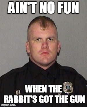 HAhaha | AIN'T NO FUN WHEN THE RABBIT'S GOT THE GUN | image tagged in cops | made w/ Imgflip meme maker