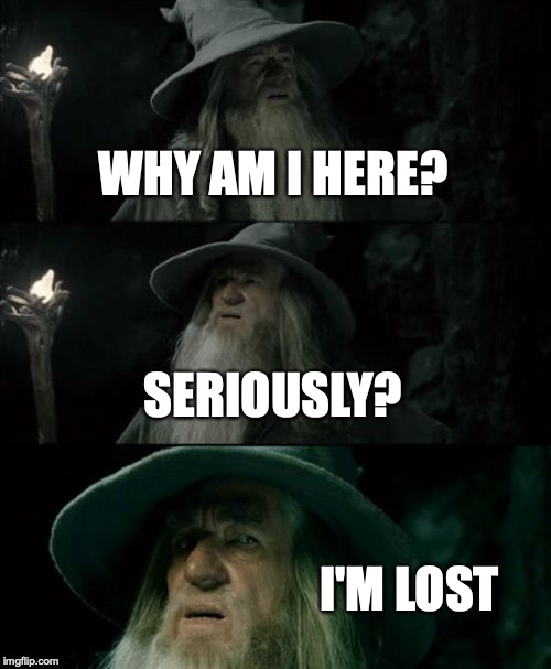 Confused Gandalf Meme | WHY AM I HERE? SERIOUSLY? I'M LOST | image tagged in memes,confused gandalf | made w/ Imgflip meme maker