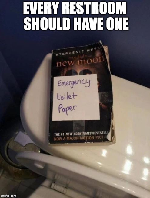 Buy a paperback book today | EVERY RESTROOM SHOULD HAVE ONE | image tagged in toilet paper | made w/ Imgflip meme maker