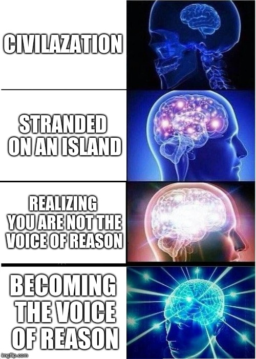 Expanding Brain Meme | CIVILAZATION STRANDED ON AN ISLAND REALIZING YOU ARE NOT THE VOICE OF REASON BECOMING THE VOICE OF REASON | image tagged in memes,expanding brain | made w/ Imgflip meme maker