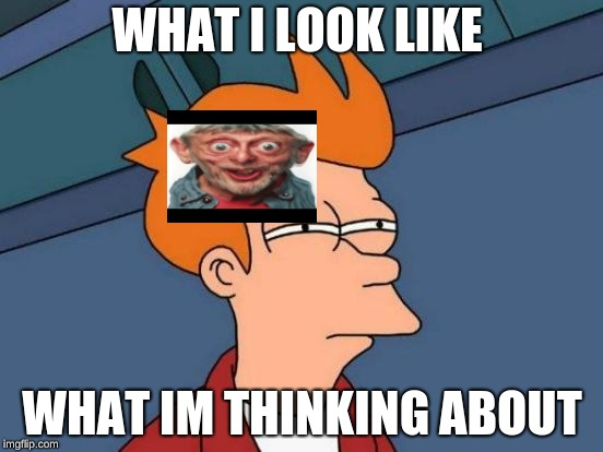 Futurama Fry Meme | WHAT I LOOK LIKE WHAT IM THINKING ABOUT | image tagged in memes,futurama fry | made w/ Imgflip meme maker