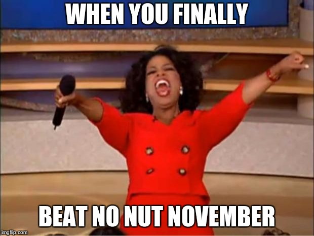 Oprah You Get A Meme | WHEN YOU FINALLY BEAT NO NUT NOVEMBER | image tagged in memes,oprah you get a | made w/ Imgflip meme maker