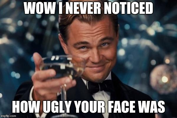 Leonardo Dicaprio Cheers Meme | WOW I NEVER NOTICED HOW UGLY YOUR FACE WAS | image tagged in memes,leonardo dicaprio cheers | made w/ Imgflip meme maker