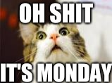OH SHIT IT'S MONDAY | image tagged in disaster girl | made w/ Imgflip meme maker