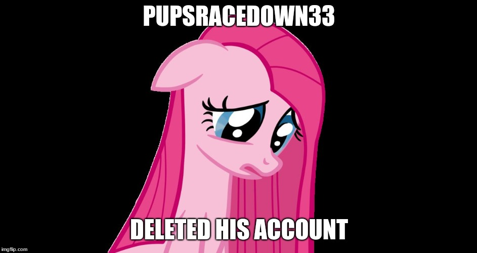 PUPSRACEDOWN33 DELETED HIS ACCOUNT | image tagged in sad pinkie pie | made w/ Imgflip meme maker