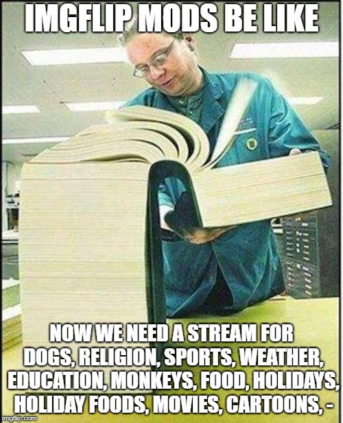big book |  IMGFLIP MODS BE LIKE; NOW WE NEED A STREAM FOR DOGS, RELIGION, SPORTS, WEATHER, EDUCATION, MONKEYS, FOOD, HOLIDAYS, HOLIDAY FOODS, MOVIES, CARTOONS, - | image tagged in big book | made w/ Imgflip meme maker