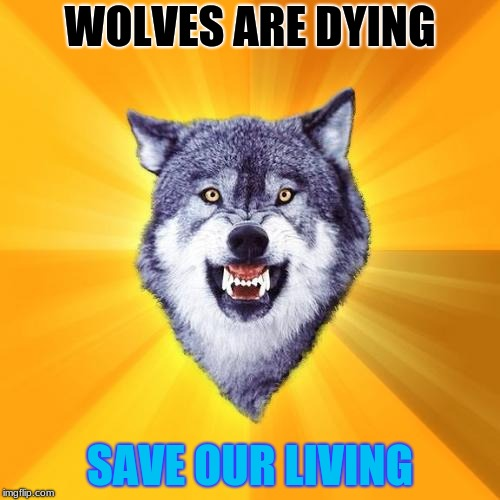 Courage Wolf | WOLVES ARE DYING SAVE OUR LIVING | image tagged in memes,courage wolf | made w/ Imgflip meme maker