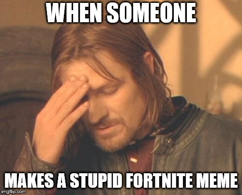 Frustrated Boromir | WHEN SOMEONE MAKES A STUPID FORTNITE MEME | image tagged in memes,frustrated boromir | made w/ Imgflip meme maker