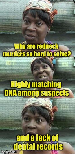 Ain't nobody got time for this joke | Why are redneck murders so hard to solve? and a lack of dental records Highly matching DNA among suspects | image tagged in bad pun ain't nobody got time for that,redneck | made w/ Imgflip meme maker