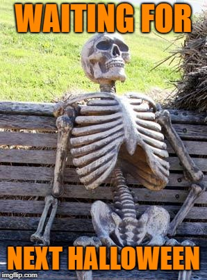 Waiting Skeleton Meme | WAITING FOR NEXT HALLOWEEN | image tagged in memes,waiting skeleton | made w/ Imgflip meme maker