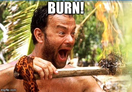 Castaway Fire Meme | BURN! | image tagged in memes,castaway fire | made w/ Imgflip meme maker