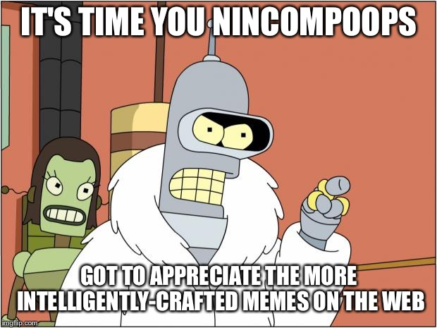 Bender | IT'S TIME YOU NINCOMPOOPS GOT TO APPRECIATE THE MORE INTELLIGENTLY-CRAFTED MEMES ON THE WEB | image tagged in memes,bender | made w/ Imgflip meme maker