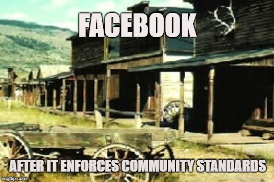 Ghost Town | FACEBOOK AFTER IT ENFORCES COMMUNITY STANDARDS | image tagged in ghost town,facebook,censorship,community standards,tumbleweed,ban | made w/ Imgflip meme maker