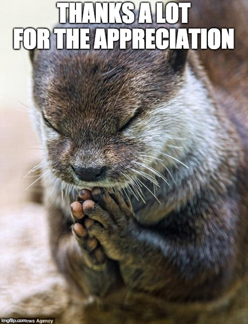 Thank you Lord Otter | THANKS A LOT FOR THE APPRECIATION | image tagged in thank you lord otter | made w/ Imgflip meme maker