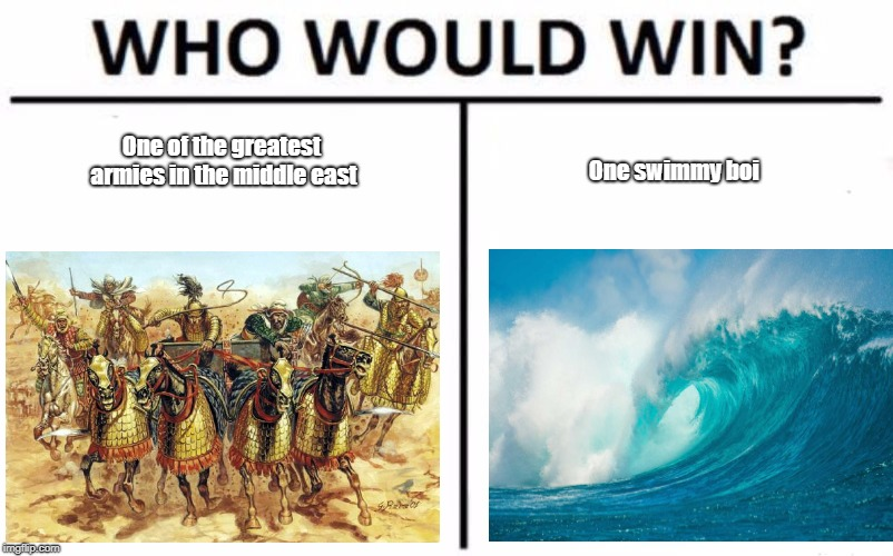 Doing god's work, one splash at a time | One of the greatest armies in the middle east One swimmy boi | image tagged in memes,who would win | made w/ Imgflip meme maker