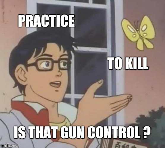 Is This A Pigeon Meme | PRACTICE TO KILL IS THAT GUN CONTROL ? | image tagged in memes,is this a pigeon | made w/ Imgflip meme maker