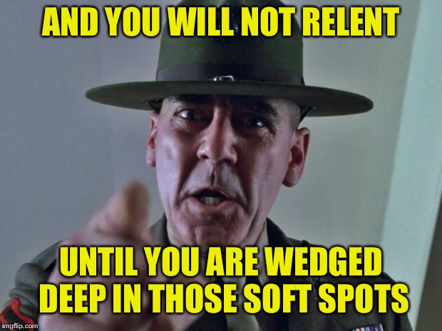 Drill Sergeant | AND YOU WILL NOT RELENT UNTIL YOU ARE WEDGED DEEP IN THOSE SOFT SPOTS | image tagged in drill sergeant | made w/ Imgflip meme maker