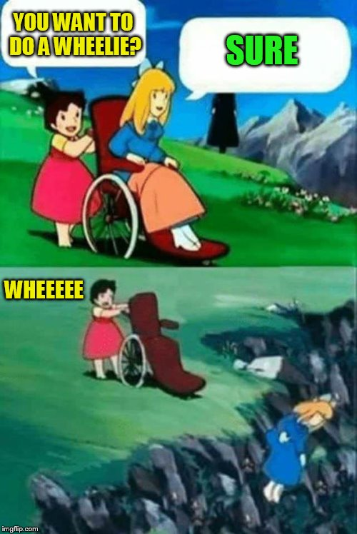 wheelchair chicks | YOU WANT TO DO A WHEELIE? SURE WHEEEEE | image tagged in wheelchair chicks | made w/ Imgflip meme maker