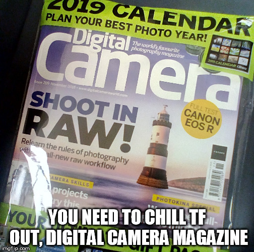 Shoot in RAW! | YOU NEED TO CHILL TF OUT, DIGITAL CAMERA MAGAZINE | image tagged in innuendo | made w/ Imgflip meme maker