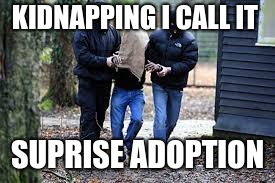 Kidnapping | KIDNAPPING I CALL IT SUPRISE ADOPTION | image tagged in kidnapping | made w/ Imgflip meme maker