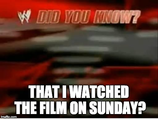 wwe did you know | THAT I WATCHED THE FILM ON SUNDAY? | image tagged in wwe did you know | made w/ Imgflip meme maker