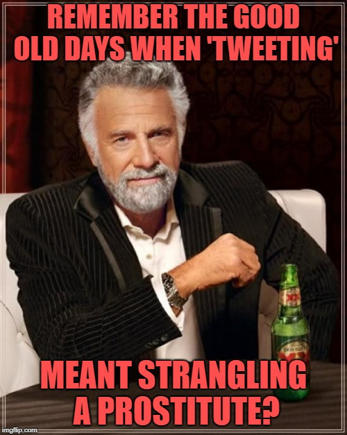 Simpler times. | REMEMBER THE GOOD OLD DAYS WHEN 'TWEETING' MEANT STRANGLING A PROSTITUTE? | image tagged in memes,the most interesting man in the world,twitter | made w/ Imgflip meme maker