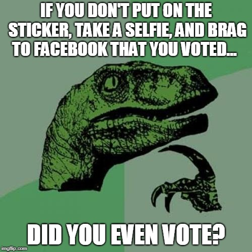 Philosoraptor Meme | IF YOU DON'T PUT ON THE STICKER, TAKE A SELFIE, AND BRAG TO FACEBOOK THAT YOU VOTED... DID YOU EVEN VOTE? | image tagged in memes,philosoraptor,AdviceAnimals | made w/ Imgflip meme maker