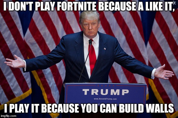Donald Trump | I DON'T PLAY FORTNITE BECAUSE A LIKE IT, I PLAY IT BECAUSE YOU CAN BUILD WALLS | image tagged in donald trump | made w/ Imgflip meme maker