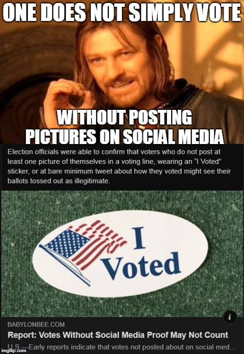 So you think your vote counted? Think again!  | ONE DOES NOT SIMPLY VOTE WITHOUT POSTING PICTURES ON SOCIAL MEDIA | image tagged in one does not simply,social media,voter id,midterms,elections,memes | made w/ Imgflip meme maker