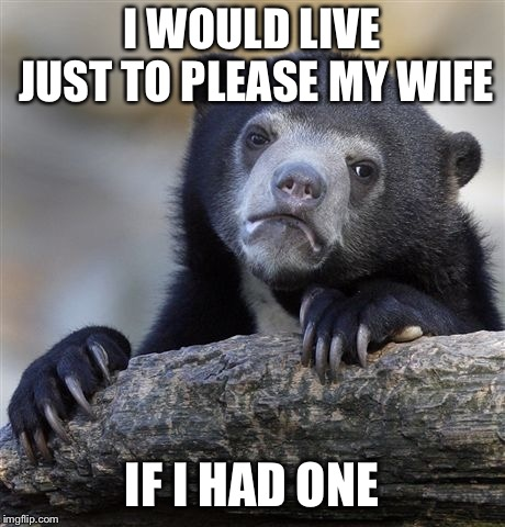 Confession Bear Meme | I WOULD LIVE JUST TO PLEASE MY WIFE IF I HAD ONE | image tagged in memes,confession bear | made w/ Imgflip meme maker