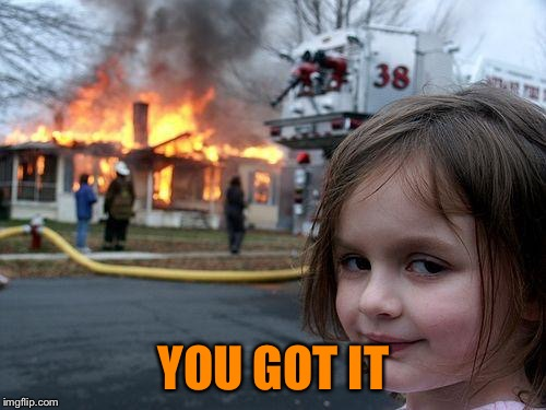 Disaster Girl Meme | YOU GOT IT | image tagged in memes,disaster girl | made w/ Imgflip meme maker