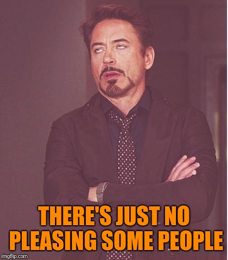 Face You Make Robert Downey Jr Meme | THERE'S JUST NO PLEASING SOME PEOPLE | image tagged in memes,face you make robert downey jr | made w/ Imgflip meme maker