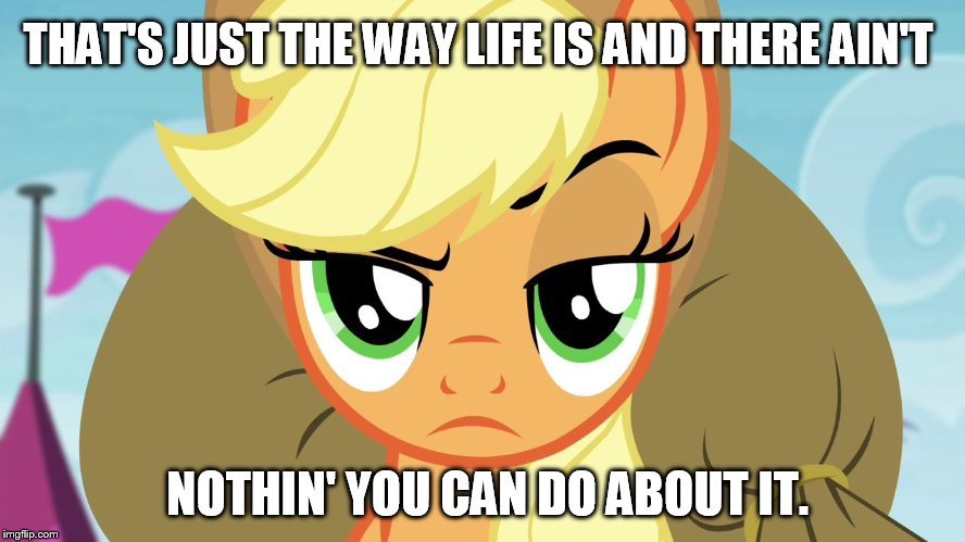 That's just the way life is | THAT'S JUST THE WAY LIFE IS AND THERE AIN'T NOTHIN' YOU CAN DO ABOUT IT. | image tagged in applejack with eyebrow,memes,applejack,my little pony,my little pony friendship is magic,funny | made w/ Imgflip meme maker