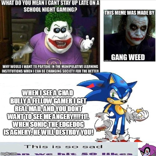 Gamers rise up! | WHEN I SEE A CHAD BULLY A FELLOW GAMER I GET REAL MAD, AND YOU DONT WANT TO SEE ME ANGERY!!!!11!. WHEN SONIC THE EDGEDOG IS AGNERY, HE WILL  | image tagged in gamers | made w/ Imgflip meme maker