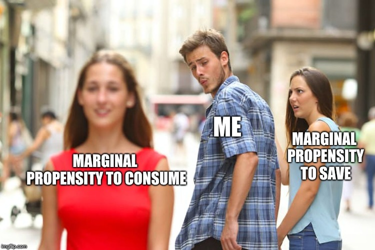 Distracted Boyfriend Meme | MARGINAL PROPENSITY TO CONSUME ME MARGINAL PROPENSITY TO SAVE | image tagged in memes,distracted boyfriend | made w/ Imgflip meme maker