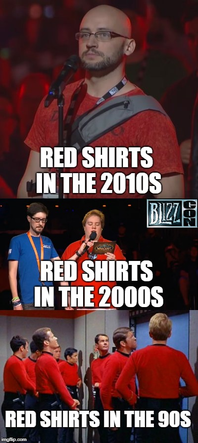 Red Shirts across the eras since the 90s | RED SHIRTS IN THE 2010S RED SHIRTS IN THE 2000S RED SHIRTS IN THE 90S | image tagged in red shirt,is this an out of season april fools joke,diablo,startrek,star trek | made w/ Imgflip meme maker