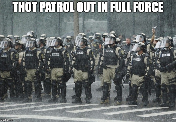 Riot Police Rain Storm | THOT PATROL OUT IN FULL FORCE | image tagged in riot police rain storm | made w/ Imgflip meme maker