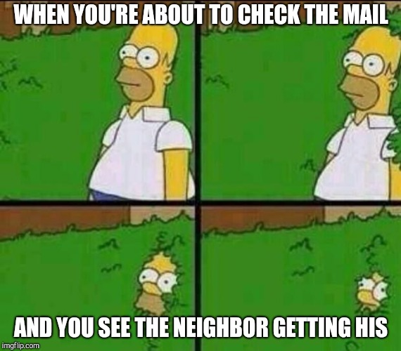 Social anxiety Homer | WHEN YOU'RE ABOUT TO CHECK THE MAIL AND YOU SEE THE NEIGHBOR GETTING HIS | image tagged in homer simpson in bush - large,homer bush | made w/ Imgflip meme maker