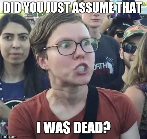 Triggered feminist | DID YOU JUST ASSUME THAT I WAS DEAD? | image tagged in triggered feminist | made w/ Imgflip meme maker