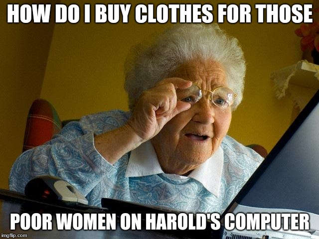 Grandma Finds The Internet Meme | HOW DO I BUY CLOTHES FOR THOSE POOR WOMEN ON HAROLD'S COMPUTER | image tagged in memes,grandma finds the internet,old man,funny memes,computer,porn | made w/ Imgflip meme maker